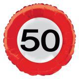 """Folien-Ballon Verkehrsschild """"50. Geburtstag"""" 45 cm"""