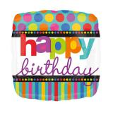 "Folien-Ballon ""Happy Dots & Stripes"" 43 cm"