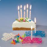 Geburtstagskerzen mit Schriftzug und Halterung 49-tlg.