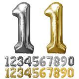 Glänzender Folien-Ballon in Zahlenform 58 x 88 cm
