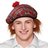 Karierte Schotten-Mütze mit Haaren