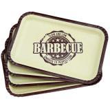 """Kleine rechteckige Pappteller """"Barbecue-Party"""" 8er Pack"""