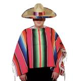 Bunt gestreifter Poncho Mexiko 1,20 m x 1,20 m