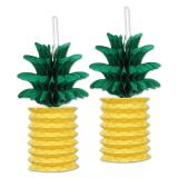 """Raumdeko """"Ananas"""" mit Wabenpapier 25 cm 2er Pack"""