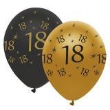 """Luftballons """"Black & Gold 18"""" 6er Pack"""