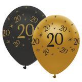"""Luftballons """"Black & Gold 20"""" 6er Pack"""