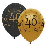 """Luftballons """"Black & Gold 40"""" 6er Pack"""