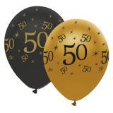 """Luftballons """"Black & Gold 50"""" 6er Pack"""