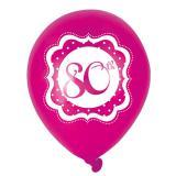 "Luftballons ""Pretty Pink"" 80. Geburtstag 6er Pack"