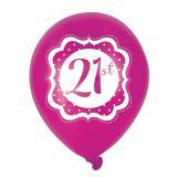 "Luftballons ""Pretty Pink"" 21. Geburtstag 6er Pack"
