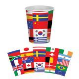 Pappbecher Internationale Flaggen 8er Pack