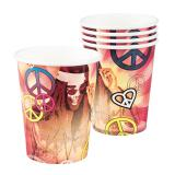 "Pappbecher ""Bunte Hippie-Power"" 6er Pack"