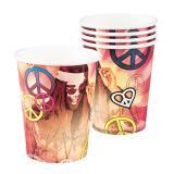 """Pappbecher """"Bunte Hippie-Power"""" 6er Pack"""