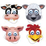 """Pappmasken """"Auf der Farm"""" 4-tlg."""