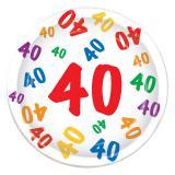 """Pappteller 40. Geburtstag """"Zahlenexplosion"""" 8er Pack"""
