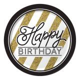 "Pappteller ""Black & Gold"" - Happy Birthday 8er Pack"