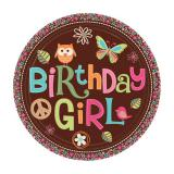 "Pappteller ""Sweet Retro - Birthday Girl"" 8er Pack"