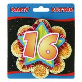 """Party-Button """"16. Geburtstag"""" 11 cm"""