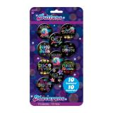 "Party-Buttons ""Buntes Disco Fever"" 10er Pack"