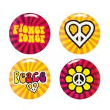 "Party-Buttons ""Bunte Hippie-Power"" 4-tlg."