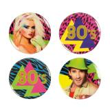 "Party-Buttons ""Wilde 80er Party"" 4-tlg."