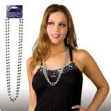 Perlenkette 38 cm 2er Pack-silber