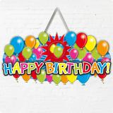 "Personalisierbare Türdeko ""Happy Birthday Bunte Ballons"" 52 cm"