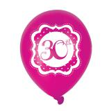 "Luftballons ""Pretty Pink"" 30. Geburtstag 6er Pack"