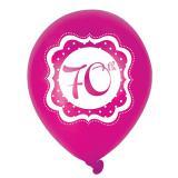 "Luftballons ""Pretty Pink"" 70. Geburtstag 6er Pack"