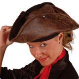 Piraten-Dreispitz in Lederoptik braun