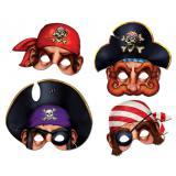 Piraten-Masken 30 cm 4-tlg.