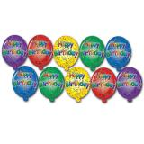 Raumdeko Mini-Luftballons Happy Birthday 10-tlg.