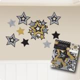 Raumdeko Sternenhimmel schwarz-gold-silber 30-tlg.