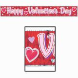 """Rotes Flatter-Banner """"Happy Valentine`s Day"""" 1,5 m"""