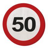 """Runde Servietten """"Verkehrsschild 50. Geburtstag 20er Pack"""