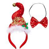 """Schillernder Haarreif """"Merry Christmas"""" mit Fliege"""