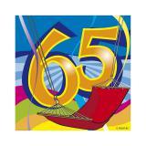 """Mini-Servietten """"65. Geburtstag Partyspaß"""" 20er Pack"""