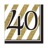 "Servietten ""Black & Gold 40"" 16er Pack"