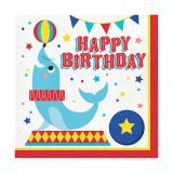 """Servietten """"Niedliche Zirkus-Tiere"""" Happy Birthday"""" 16er Pack"""