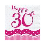 """Servietten """"Pretty Pink"""" Happy 30th! 18er Pack"""