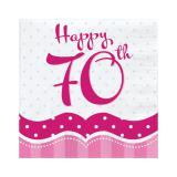 """Servietten """"Pretty Pink"""" Happy 70th! 18er Pack"""