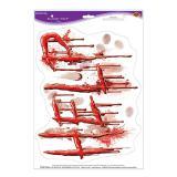 """Statisch haftender Aufkleber """"Blutiger Hilferuf"""" 36 x 28 cm"""