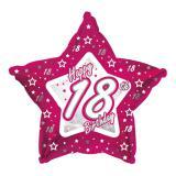 "Sternförmiger Folien-Ballon Happy Birthday ""Pretty Pink 18"" 45 cm"