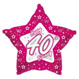 "Sternförmiger Folien-Ballon Happy Birthday ""Pretty Pink 40"" 45 cm"