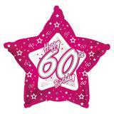 "Sternförmiger Folien-Ballon Happy Birthday ""Pretty Pink 60"" 45 cm"