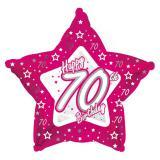 "Sternförmiger Folien-Ballon Happy Birthday ""Pretty Pink 70"" 45 cm"