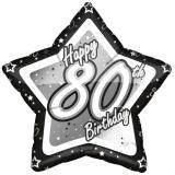 "Sternförmiger Folien-Ballon ""Happy Birthday Stars 80"" 45 cm"