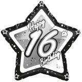 "Sternförmiger Folien-Ballon ""Happy Birthday Stars 16"" 45 cm"
