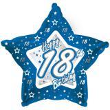 "Sternförmiger Folien-Ballon Happy Birthday ""Pretty Blue 18"" 45 cm"