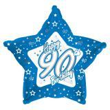 "Sternförmiger Folien-Ballon Happy Birthday ""Pretty Blue 90"" 45 cm"